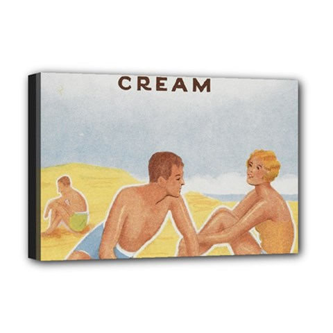 Vintage Summer Sunscreen Advertisement Deluxe Canvas 18  X 12   by yoursparklingshop