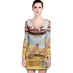 Vintage Summer Sunscreen Advertisement Long Sleeve Bodycon Dress by yoursparklingshop