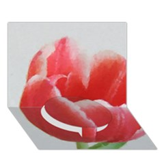 Red Tulip Watercolor Painting Circle Bottom 3d Greeting Card (7x5) by picsaspassion