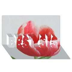 Red Tulip Watercolor Painting Best Sis 3d Greeting Card (8x4) by picsaspassion