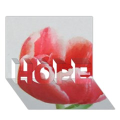 Red Tulip Watercolor Painting Hope 3d Greeting Card (7x5) by picsaspassion