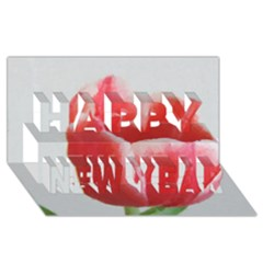 Red Tulip Watercolor Painting Happy New Year 3d Greeting Card (8x4) by picsaspassion