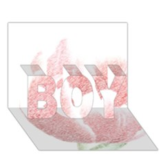Red Tulip Pencil Drawing Boy 3d Greeting Card (7x5)