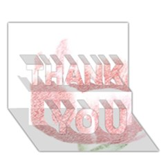 Red Tulip Pencil Drawing Thank You 3d Greeting Card (7x5) by picsaspassion