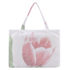 Red Tulip Pencil Drawing Medium Zipper Tote Bag