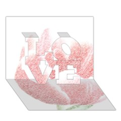 Red Tulip Pencil Drawing Love 3d Greeting Card (7x5) by picsaspassion