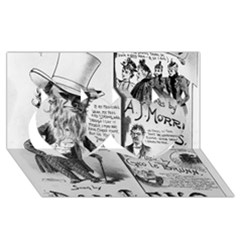 Vintage Song Sheet Lyrics Black White Typography Twin Hearts 3d Greeting Card (8x4) by yoursparklingshop