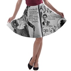 Vintage Song Sheet Lyrics Black White Typography A Line Skater Skirt by yoursparklingshop