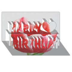 Tulip Red Watercolor Painting Happy Birthday 3d Greeting Card (8x4)