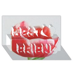 Tulip Red Watercolor Painting Best Friends 3d Greeting Card (8x4) by picsaspassion