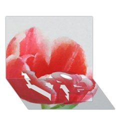 Tulip Red Watercolor Painting Love Bottom 3d Greeting Card (7x5) by picsaspassion