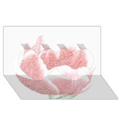 Tulip Red Pencil Drawing Art Twin Hearts 3d Greeting Card (8x4)