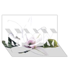 White Magnolia Pencil Drawing Art Mom 3d Greeting Card (8x4)