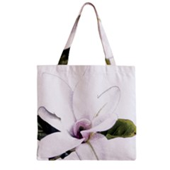 White Magnolia Pencil Drawing Art Zipper Grocery Tote Bag