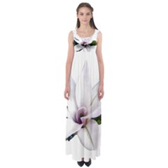 Magnolia Wit Aquarel Painting Art Empire Waist Maxi Dress