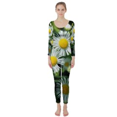 White Summer Flowers Oil Painting Art Long Sleeve Catsuit by picsaspassion