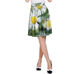 White Summer Flowers Watercolor Painting Art A-line Skirt