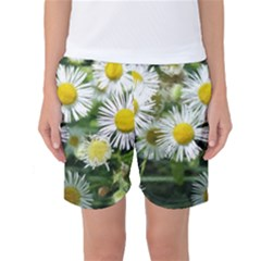 White Summer Flowers Watercolor Painting Art Women s Basketball Shorts