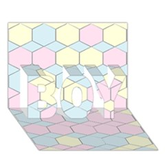Colorful Honeycomb   Diamond Pattern Boy 3d Greeting Card (7x5) by picsaspassion