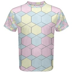 Colorful Honeycomb   Diamond Pattern Men s Cotton Tee