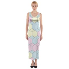 Colorful Honeycomb   Diamond Pattern Fitted Maxi Dress