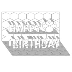 Honeycomb   Diamond Black And White Pattern Happy Birthday 3d Greeting Card (8x4)