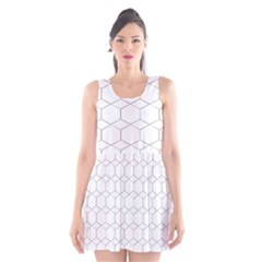 Honeycomb   Diamond Black And White Pattern Scoop Neck Skater Dress