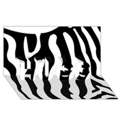 Zebra Horse Skin Pattern Black And White Hugs 3d Greeting Card (8x4) by picsaspassion