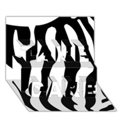 Zebra Horse Skin Pattern Black And White Take Care 3d Greeting Card (7x5) by picsaspassion
