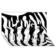 Zebra Horse Skin Pattern Black And White Laugh Live Love 3d Greeting Card (8x4) by picsaspassion