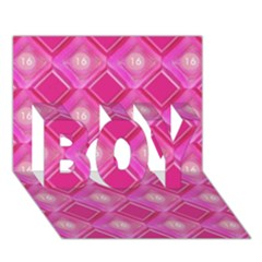 Pink Sweet Number 16 Diamonds Geometric Pattern Boy 3d Greeting Card (7x5) by yoursparklingshop