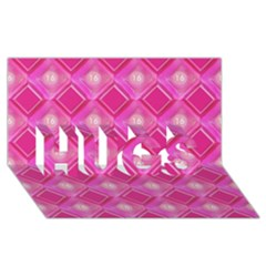 Pink Sweet Number 16 Diamonds Geometric Pattern Hugs 3d Greeting Card (8x4) by yoursparklingshop
