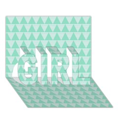 Mint Color Triangle Pattern Girl 3d Greeting Card (7x5) by picsaspassion