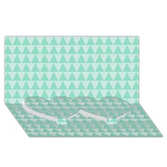 Mint Color Triangle Pattern Twin Heart Bottom 3d Greeting Card (8x4) by picsaspassion