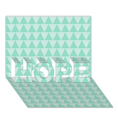 Mint Color Triangle Pattern Hope 3d Greeting Card (7x5) by picsaspassion