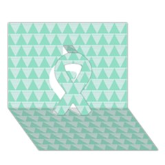 Mint Color Triangle Pattern Ribbon 3d Greeting Card (7x5)