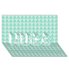 Mint Color Triangle Pattern Hugs 3d Greeting Card (8x4) by picsaspassion