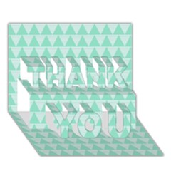 Mint Color Triangle Pattern Thank You 3d Greeting Card (7x5) by picsaspassion