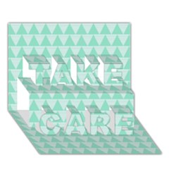 Mint Color Triangle Pattern Take Care 3d Greeting Card (7x5) by picsaspassion