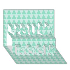 Mint Color Triangle Pattern You Rock 3d Greeting Card (7x5) by picsaspassion