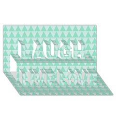 Mint Color Triangle Pattern Laugh Live Love 3d Greeting Card (8x4) by picsaspassion