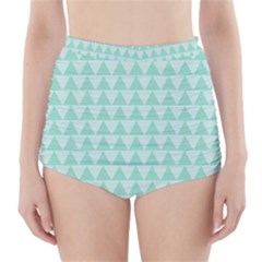Mint Color Triangle Pattern High-waisted Bikini Bottoms by picsaspassion