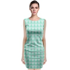 Mint Color Triangle Pattern Classic Sleeveless Midi Dress by picsaspassion