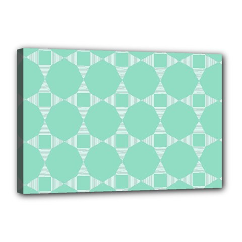 Mint Color Star   Triangle Pattern Canvas 18  X 12