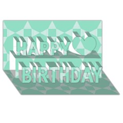 Mint Color Star   Triangle Pattern Happy Birthday 3d Greeting Card (8x4) by picsaspassion