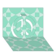 Mint Color Star   Triangle Pattern Peace Sign 3d Greeting Card (7x5) by picsaspassion