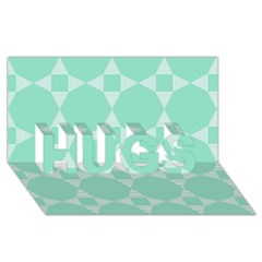Mint Color Star   Triangle Pattern Hugs 3d Greeting Card (8x4) by picsaspassion