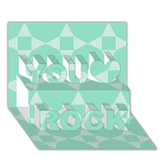 Mint Color Star   Triangle Pattern You Rock 3d Greeting Card (7x5) by picsaspassion