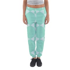 Mint Color Star   Triangle Pattern Women s Jogger Sweatpants by picsaspassion