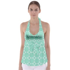 Mint Color Star - Triangle Pattern Babydoll Tankini Top by picsaspassion